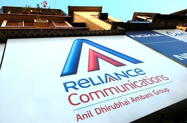 A logo of Reliance Communications put up on a company outlet in Mumbai, India, on Sunday, March 25, 2007. Photograph: Abhijit Bhatlekar/Bloomberg News