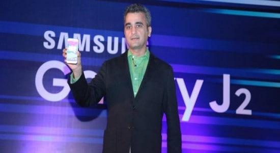 Asim Warsi, Vice President, Marketing-IT & Mobile at Samsung India launches Galaxy J2 in Bengaluru