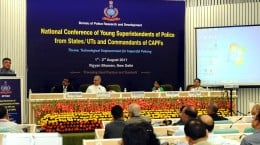 The Union Minister for Electronics & Information Technology and Law & Justice, Shri Ravi Shankar Prasad addressing at the inauguration of the National Conference for Young SPs of States/UTs and Commandants of CAPFs, in New Delhi on August 01, 2017. The Director, Intelligence Bureau, Shri Rajiv Jain and the DG, BPR&D, Dr. Meeran C. Borwankar are also seen.
