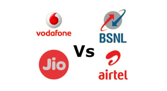 Jio Vs Airtel Vs Vodafone Vs BSNL