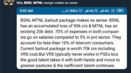 Twitter comments on BSNL MTNL merger