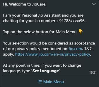 JioCare Message